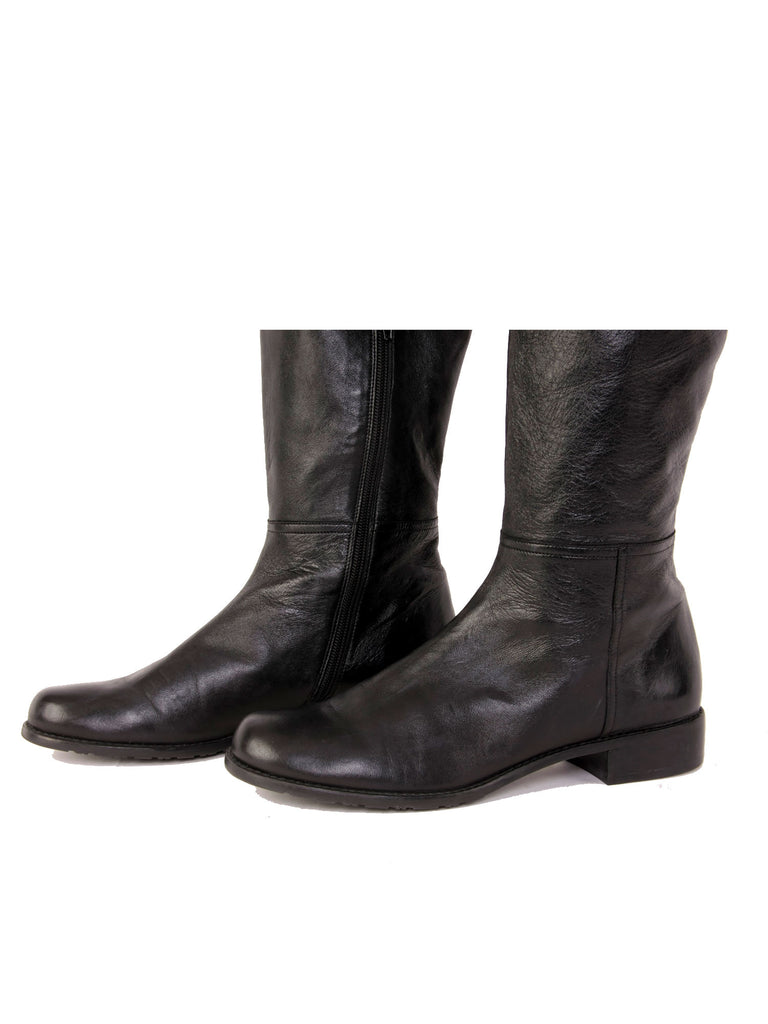 Stuart Weitzman Polished Leather Thigh-High Flat Boots