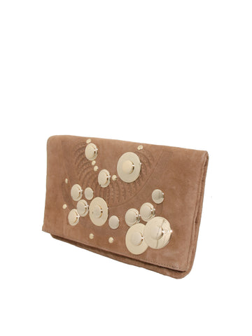 DVF Peggy Foldover Suede Clutch Bag