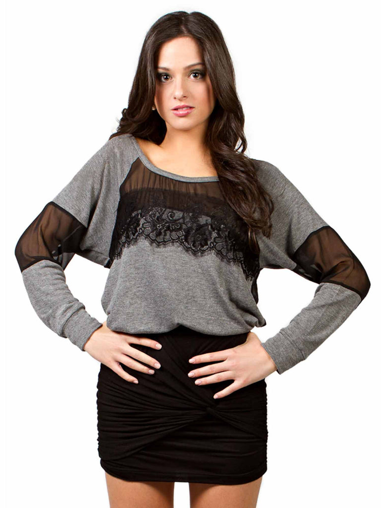 Solemio Lace Mesh Sweater