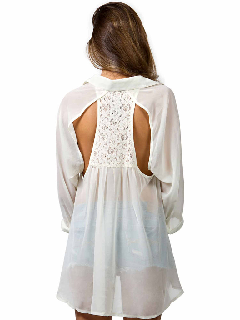 Manito Sweetheart Lace Back Inset Top