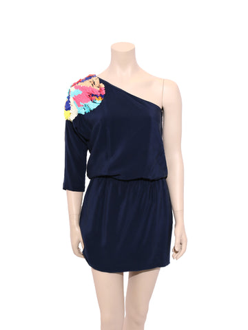 Tibi Begonia Sequins One-Shoulder Dress