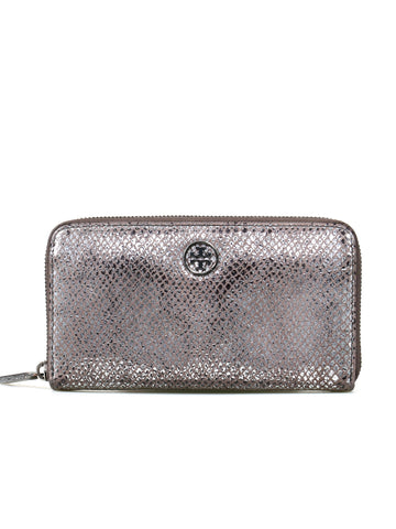 Tory Burch Metallic Leather Zip Around Wallet