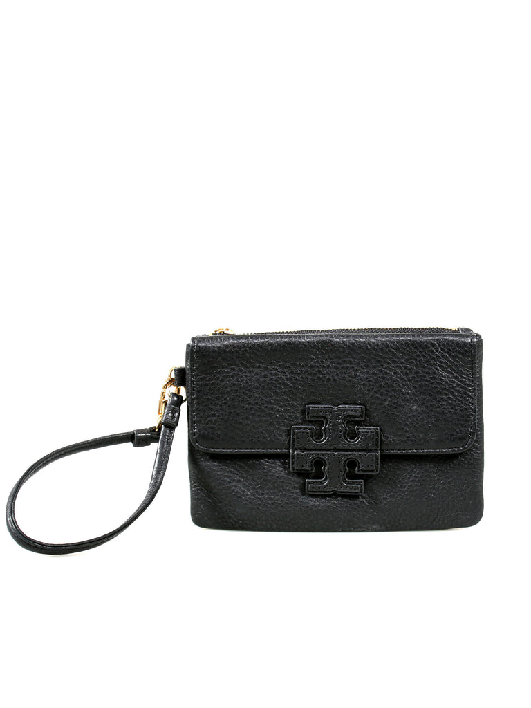 Tory Burch Leather Logo Wristlet