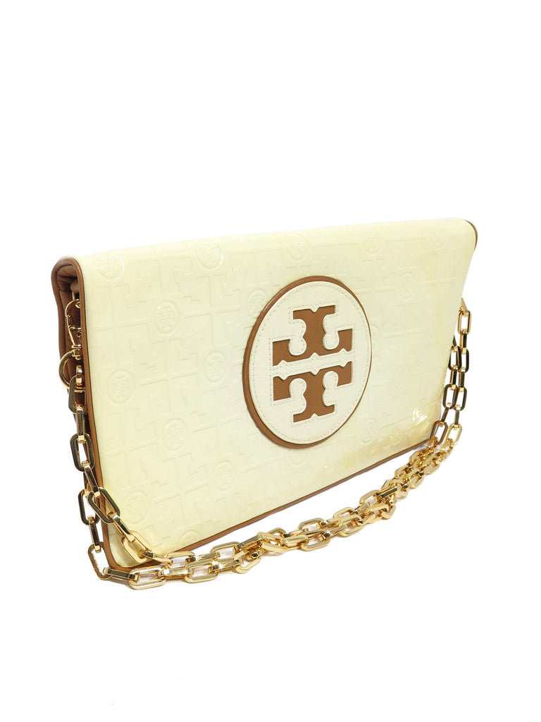 Tory Burch Patent Leather Logo Clutch