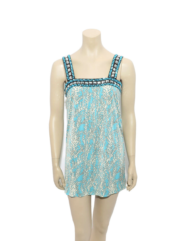 Tory Burch Printed Jewelled Silk Tunic