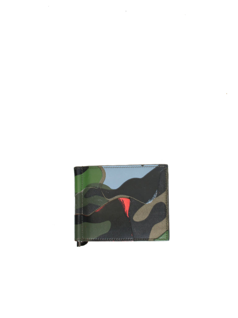 Valentino Camo Cardholder with Money Clip