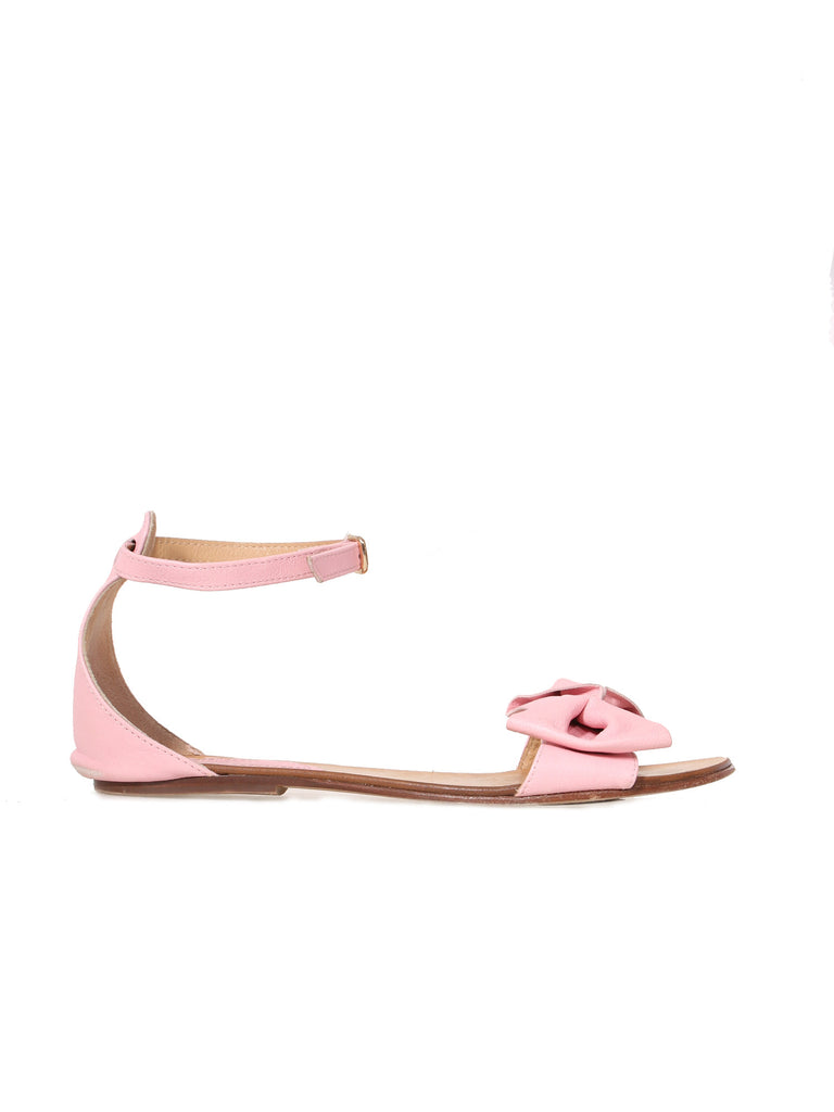 Red Valentino Leather Bow Embellished Sandals
