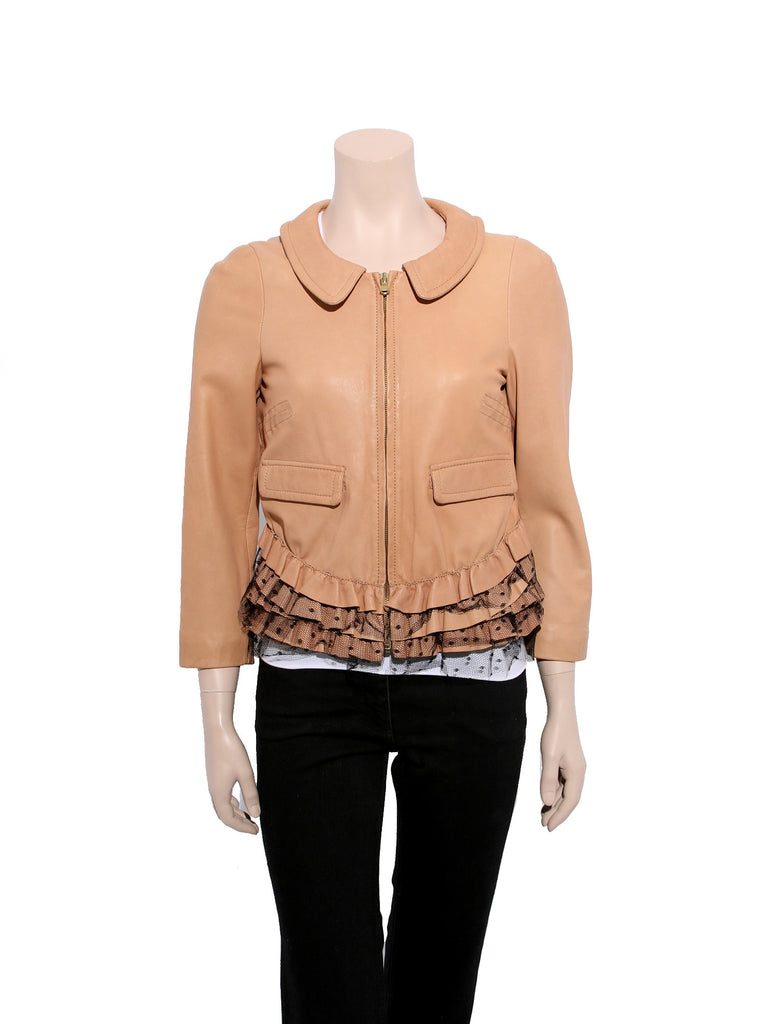 Valentino Leather Ruffle Jacket