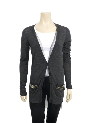 Vera Wang Jewelled Wool Cardigan