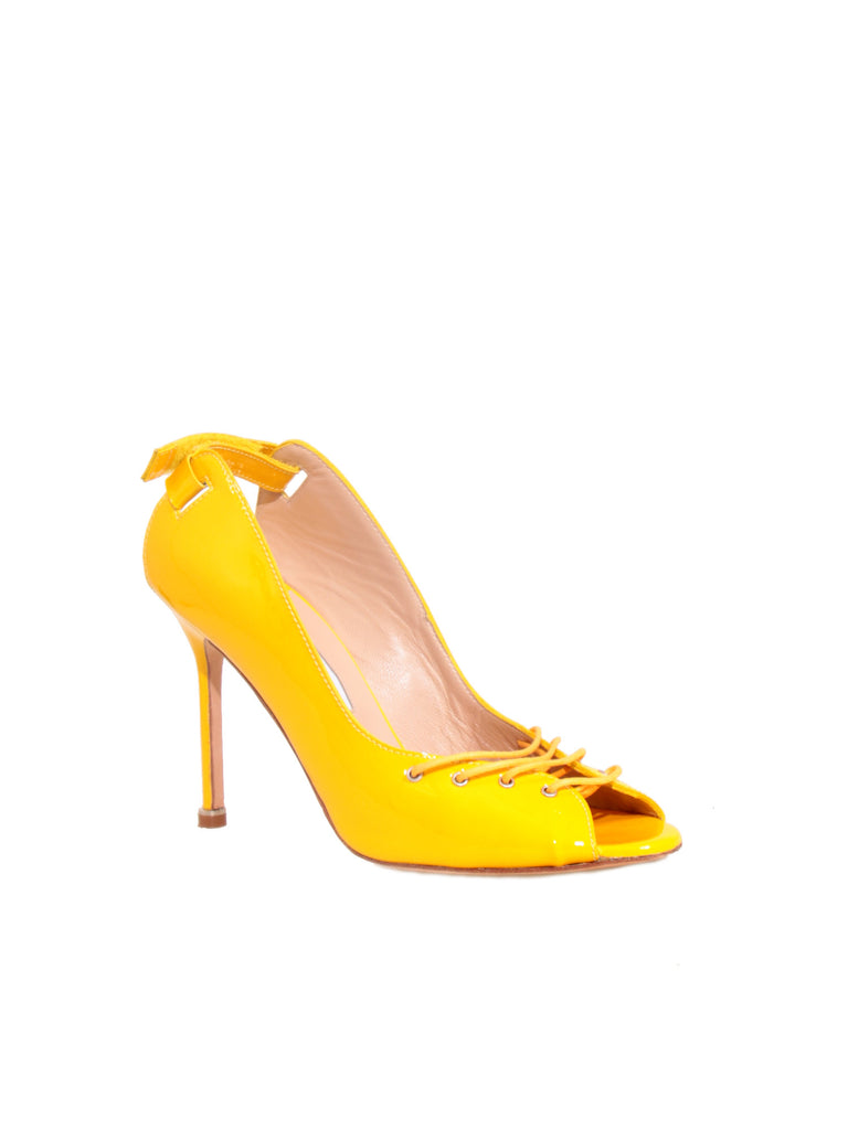 Manolo Blahnik Laced-Up Patent Sandals