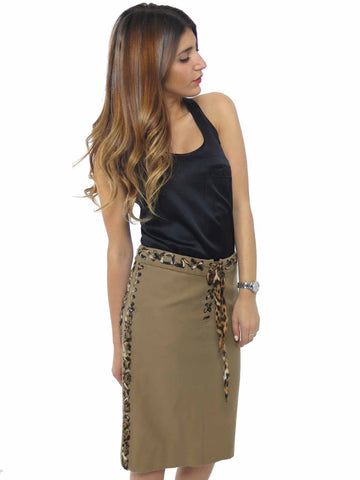 Yves Saint Laurent Chiffon Leopard Lace-Up Trim Skirt