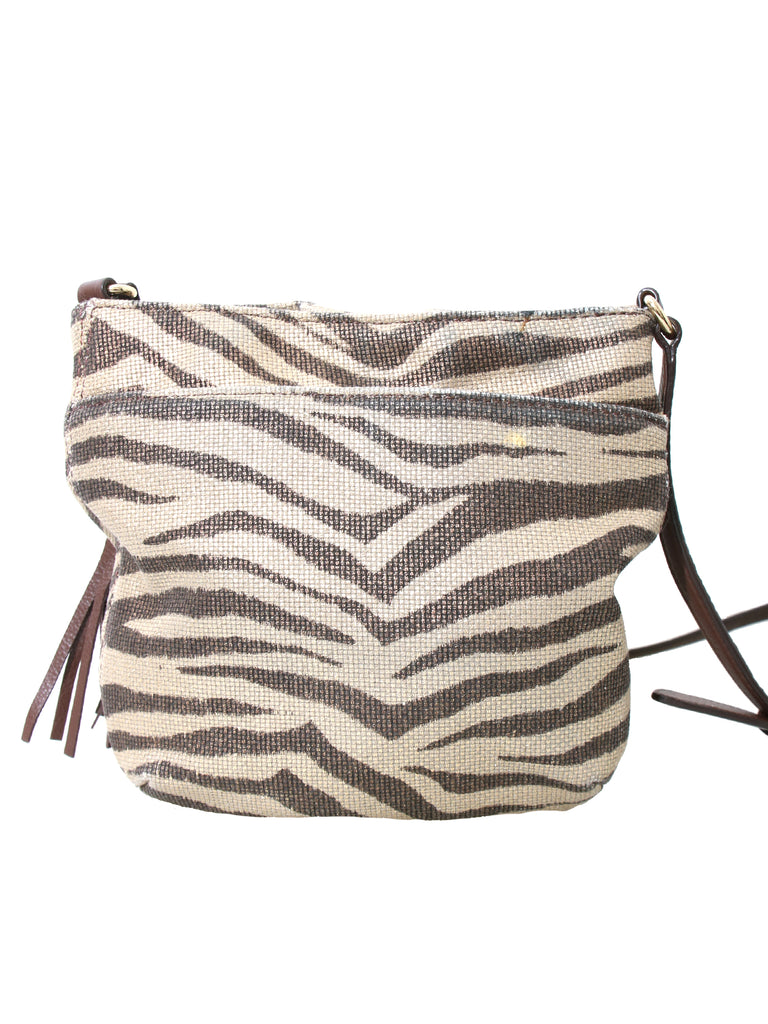 Michael Kors Drawstring Tassel Zebra-Print Cross Body Bag