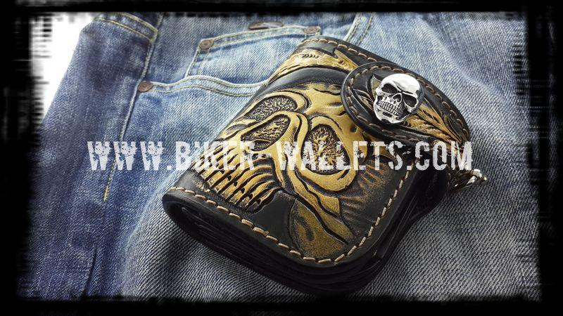 Half Skull Badass Biker Wallet from the leather masters at www.biker-wallets.com