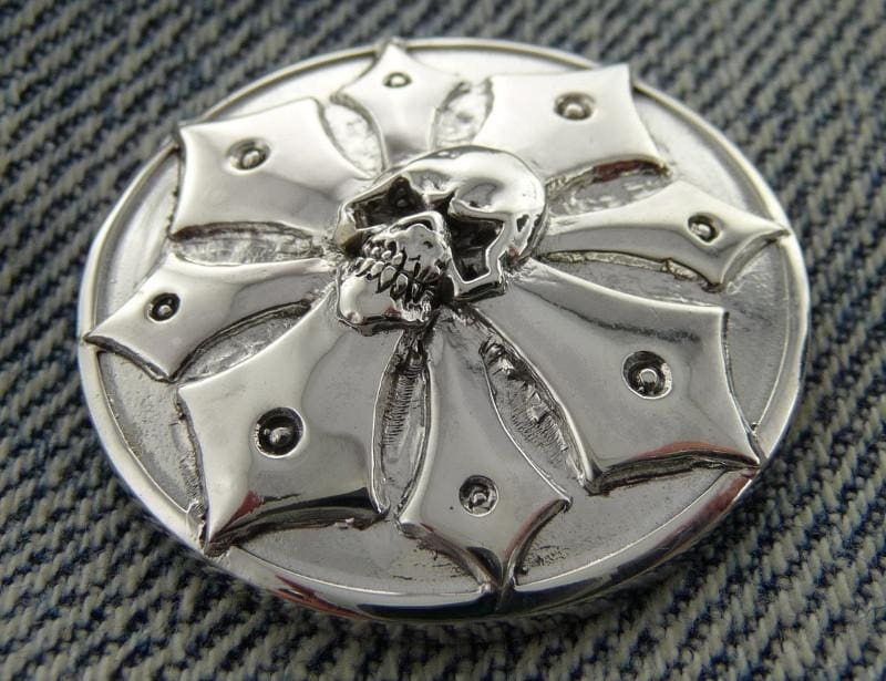.925 Silver Concho Snap Caps for Custom Biker Wallets
