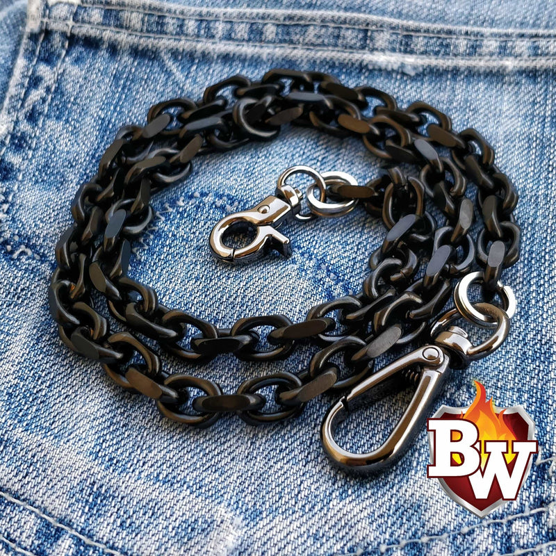 """Stealth"" 24"" Black Vapor Coated 316L Stainless Steel Biker Wallet Chain"