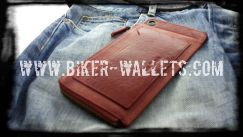 """Super Slim"" 8"" Custom Handmade Leather Men's Biker Wallet"