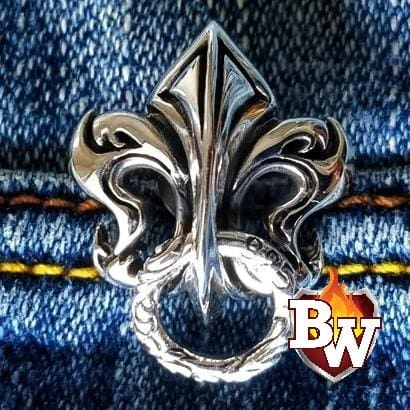 Big Fleur-de-lis Brass and .925 Silver Biker Wallet Chain secure