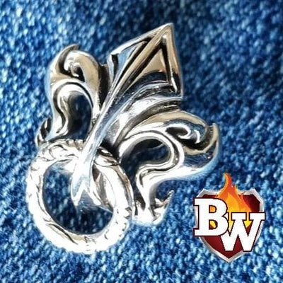 Big Fleur-de-lis Brass and .925 Silver Biker Wallet Chain secure | Custom Handmade Men's Leather Wallets at Biker-Wallets.com