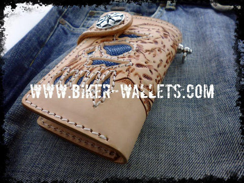 """Bluebeard's Skull"" 6"" Custom Handmade Stingray Men's Biker Wallet"