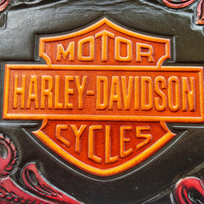 """Harley Davidson"" 8"" Custom Handmade Leather Biker Wallet"