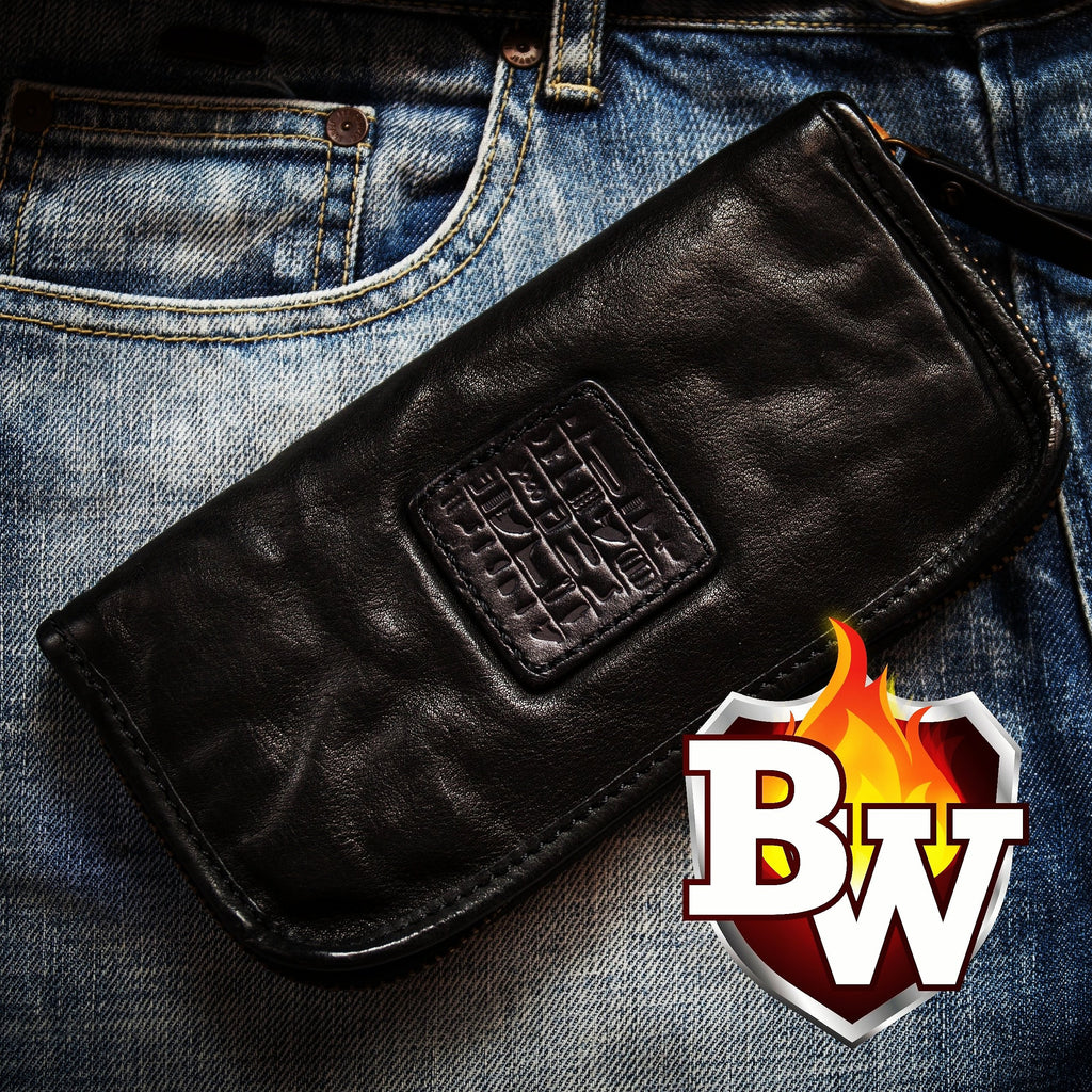 Pharoah 8 Custom Handmade Black Leather Men's  Biker Wallet - Handcrafted Quality Genine Leather Backed by a 5-Year Warranty - Biker-Wallets.com