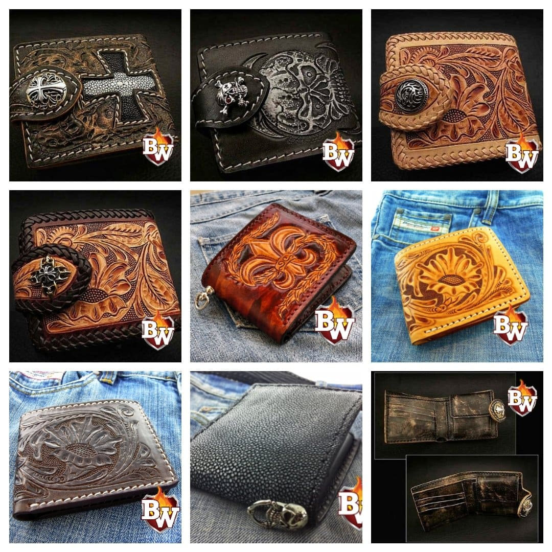 """Rugged"" Super Thick Top Grain Saddle Leather 5"" Biker Wallet"