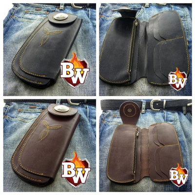Black Tommy 8-inch  Leather Men's Biker Wallet | Custom Handmade Men's Leather Wallets at Biker-Wallets.com