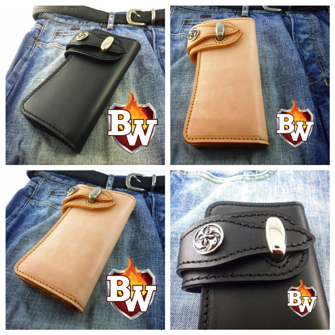 Black Bankster 8-inch  Leather Men's Biker Wallet | Custom Handmade Men's Leather Wallets at Biker-Wallets.com