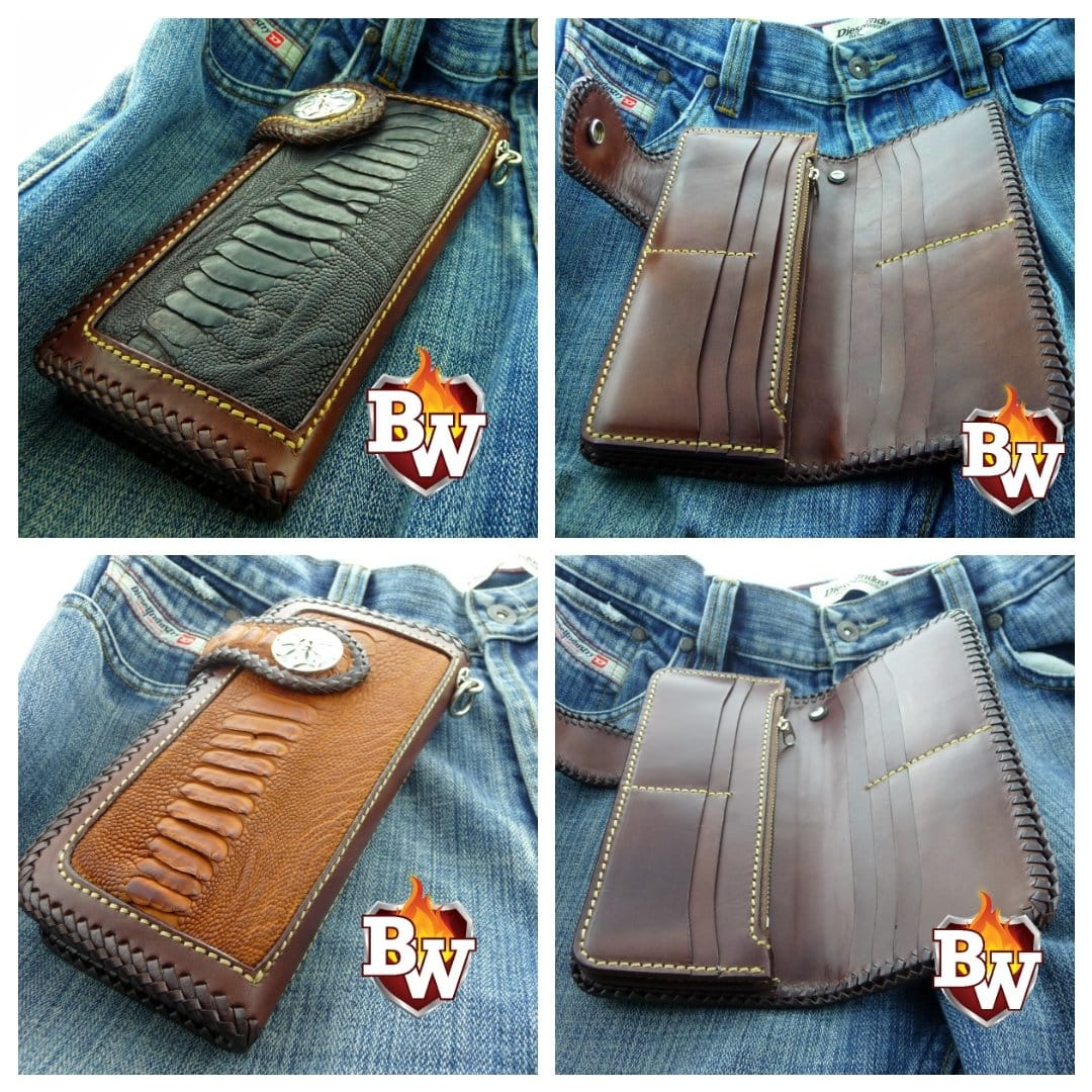 """Cross Country"" 8"" Custom Handmade Ostrich Men's Biker Wallet"