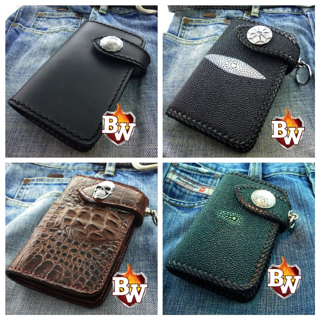 """Bandit"" 6"" Custom Handmade Leather Men's Biker Wallets"