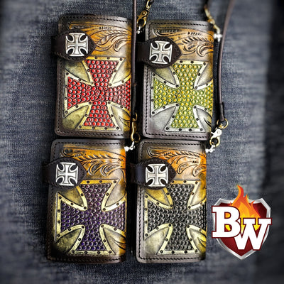 """Iron Cross"" 6"" Handmade Leather Biker Wallet"