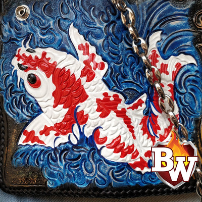 """KOI"" 8"" Custom Handmade Leather Men's Biker Wallet"