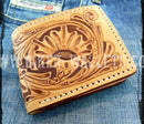 """The West Natural"" 4"" Custom Handmade Leather Biker Wallet"
