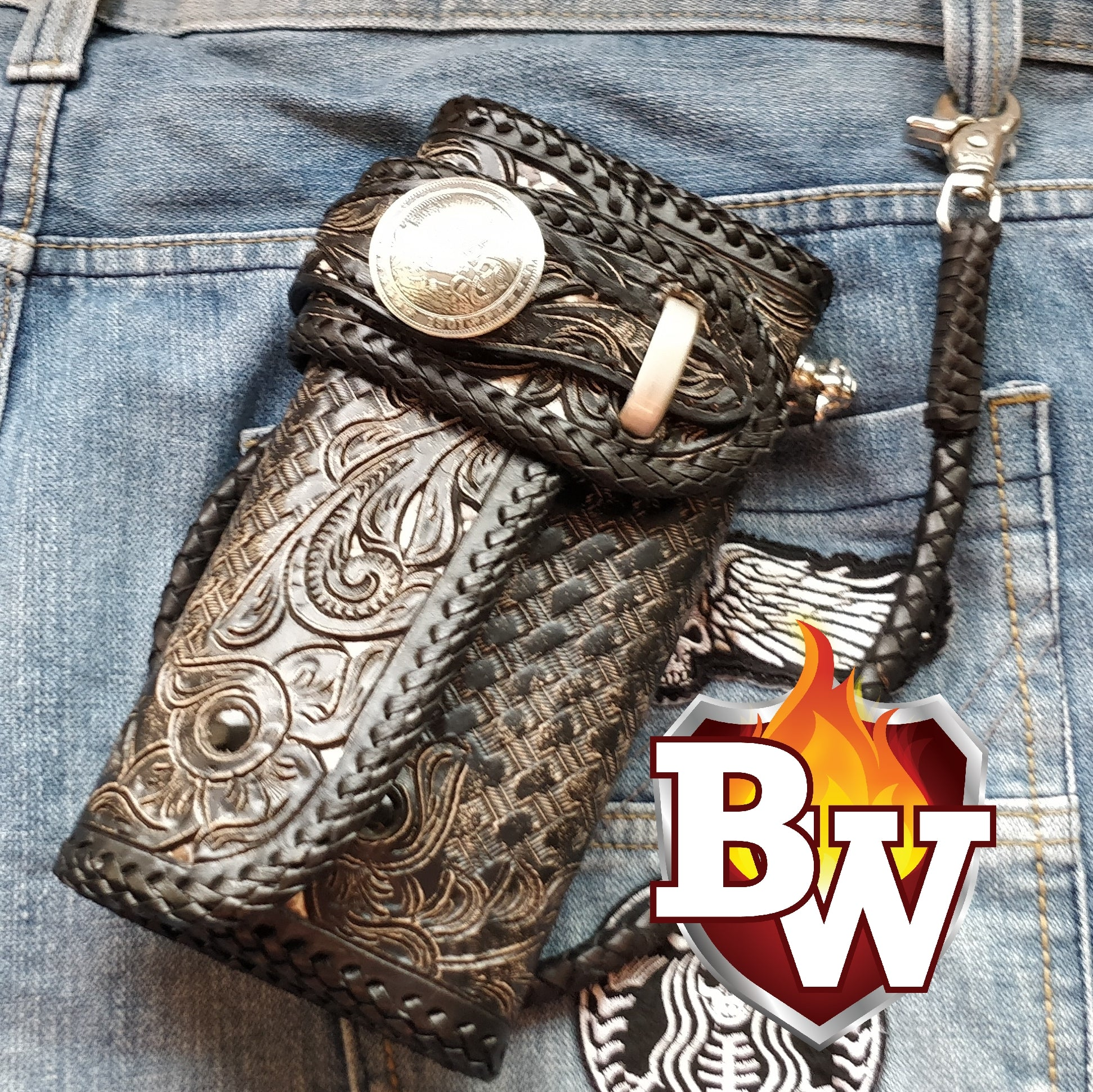 """World Biker Club"" 8"" Custom Handmade Hand Tooled Leather Men's Biker Wallet"