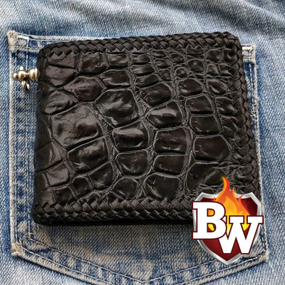 Alien 5-inch Crocodile  Men's Biker Wallet | Custom Handmade Men's Leather Wallets at Biker-Wallets.com
