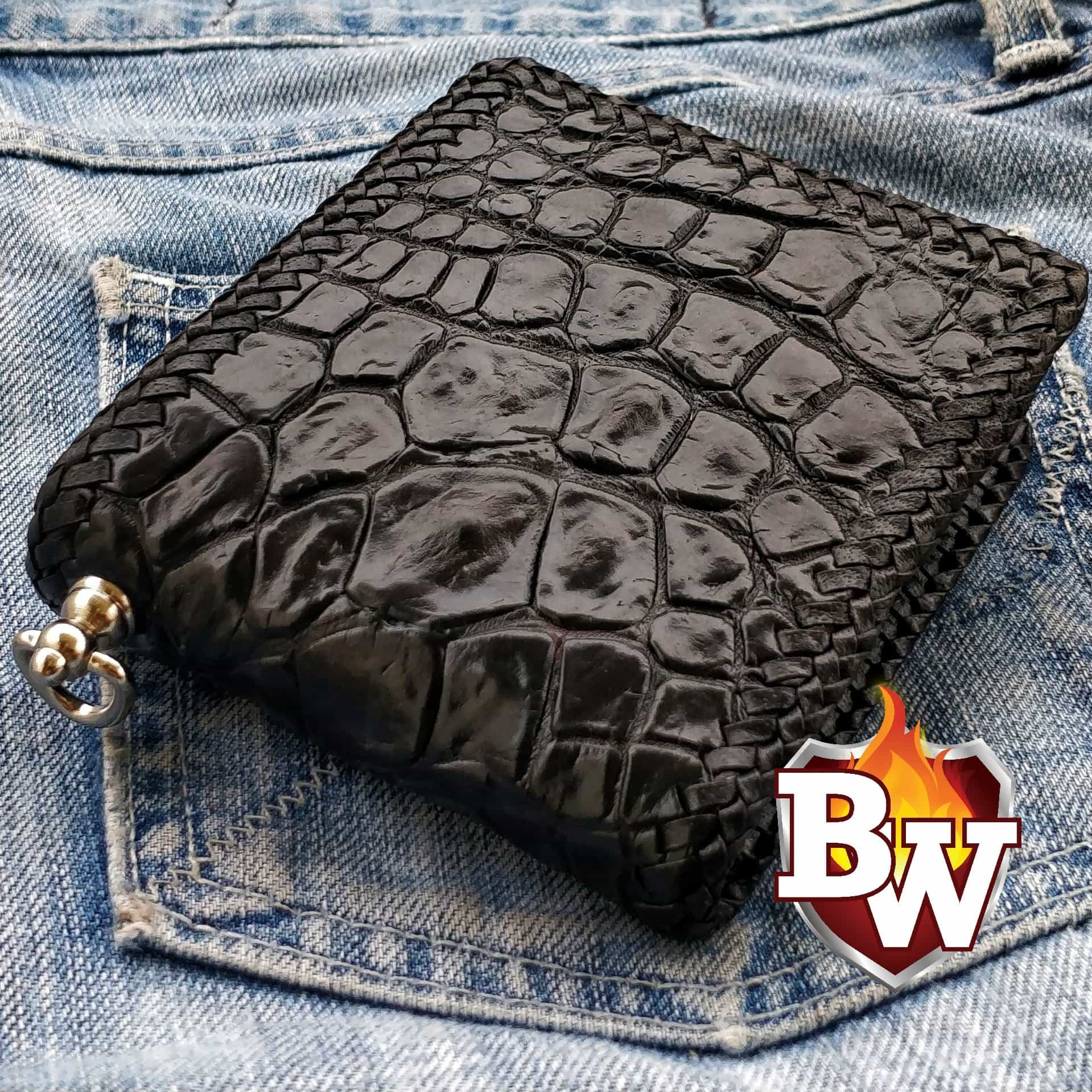 """Alien"" 5"" Crocodile Custom Handmade Men's Biker Wallet"