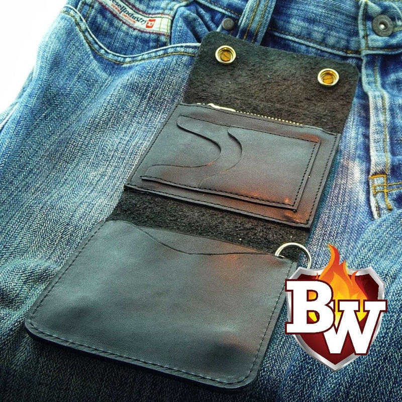 """Classic"" 4"" Custom Handmade Leather Men's Biker Wallet"