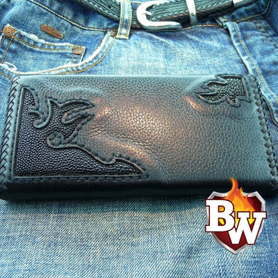 """Back In Black"" 8"" Custom Handmade Men's Biker Chain Wallet"