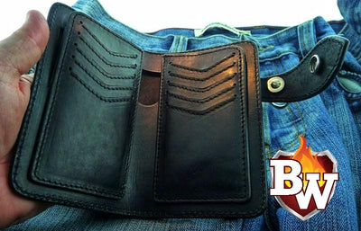Green Stingray Bandit 6-inch  Leather Men's Biker Wallets | Custom Handmade Men's Leather Wallets at Biker-Wallets.com