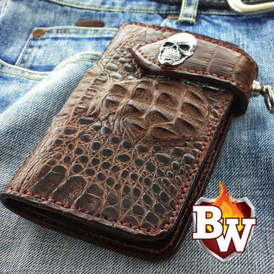 Red Sanded Stingray Bandit 6-inch  Leather Men's Biker Wallets | Custom Handmade Men's Leather Wallets at Biker-Wallets.com