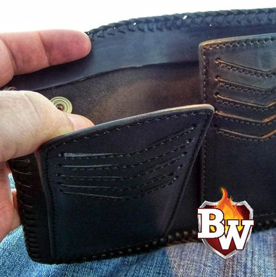Black Stingray Bandit 6-inch  Leather Men's Biker Wallets | Custom Handmade Men's Leather Wallets at Biker-Wallets.com