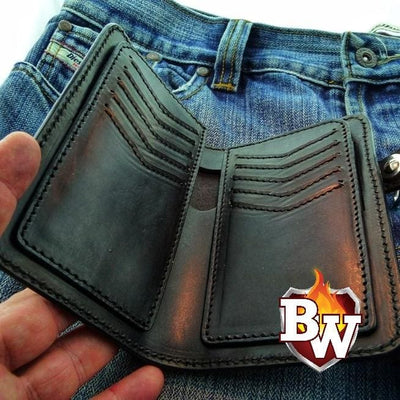 Natural Genuine Leather Bandit 6-inch  Leather Men's Biker Wallets | Custom Handmade Men's Leather Wallets at Biker-Wallets.com