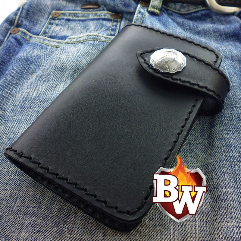Black Genuine Leather Bandit 6-inch  Leather Men's Biker Wallets | Custom Handmade Men's Leather Wallets at Biker-Wallets.com