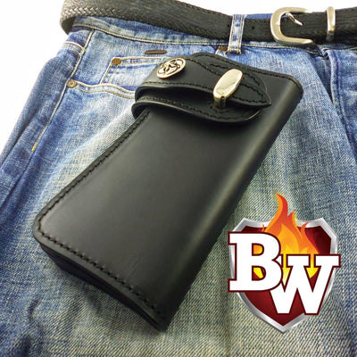 Natural Bankster 8-inch  Leather Men's Biker Wallet | Custom Handmade Men's Leather Wallets at Biker-Wallets.com