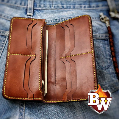 """BAUHAUS"" 8"" Handmade Stingray and Leather Biker Wallet"