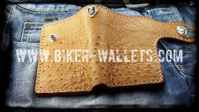 Big Bird 5 Custom Handmade Ostrich Skin and Leather Biker Wallet - Handcrafted Quality Genine Leather Backed by a 5-Year Warranty - Biker-Wallets.com