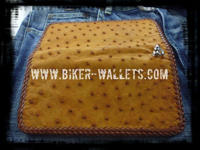 Big Bird 8 Ostrich Custom Handmade Men's Biker Wallet - Handcrafted Quality Genine Leather Backed by a 5-Year Warranty - Biker-Wallets.com