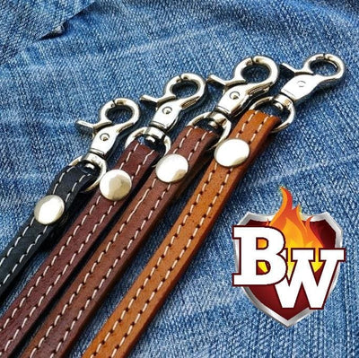 Black Straps Leather Biker Wallet Strap Lanyards | Custom Handmade Men's Leather Wallets at Biker-Wallets.com