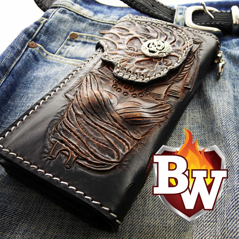 """Acid Trip"" Handmade Leather 3D Hand Tooled Biker Wallet"