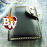 This is a good front view of the biker wallet Al Capone.  From this image you can see the quality of the leather, the stitchwork, and the concho.  You can also see the stainless swivel concho.  This makes a great everyday carry wallet or gift wallet.   The only mini super tough biker wallet.  A mighty wallet for sure.